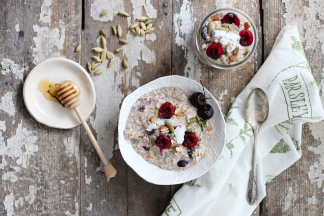 Cherry Cardamom Bircher Muesli, bircher muesli recipe, cherries, honey