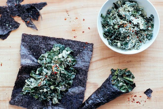 Kale Caesar Salad Nori Wraps | Nutrition Stripped