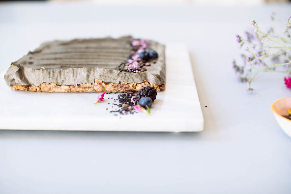 Healthy Black Sesame Cheesecake bars recipe on NutritionStripped.com