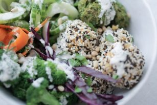 Baked Pea Falafel with Sesame Rice Balls, vegan, gluten-free | Nutrition Stripped